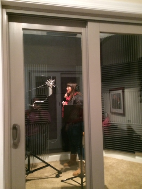 Brianna in Sound Booth in West County Studio